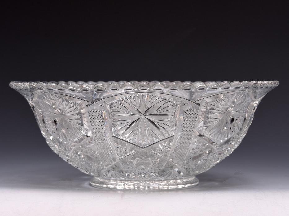ボヘミア Bohemian Glass クリスタルガラス ボウル 深鉢 プレスガラス 硝子 ガラス工芸 西洋美術 現代工芸 b9010o_画像2