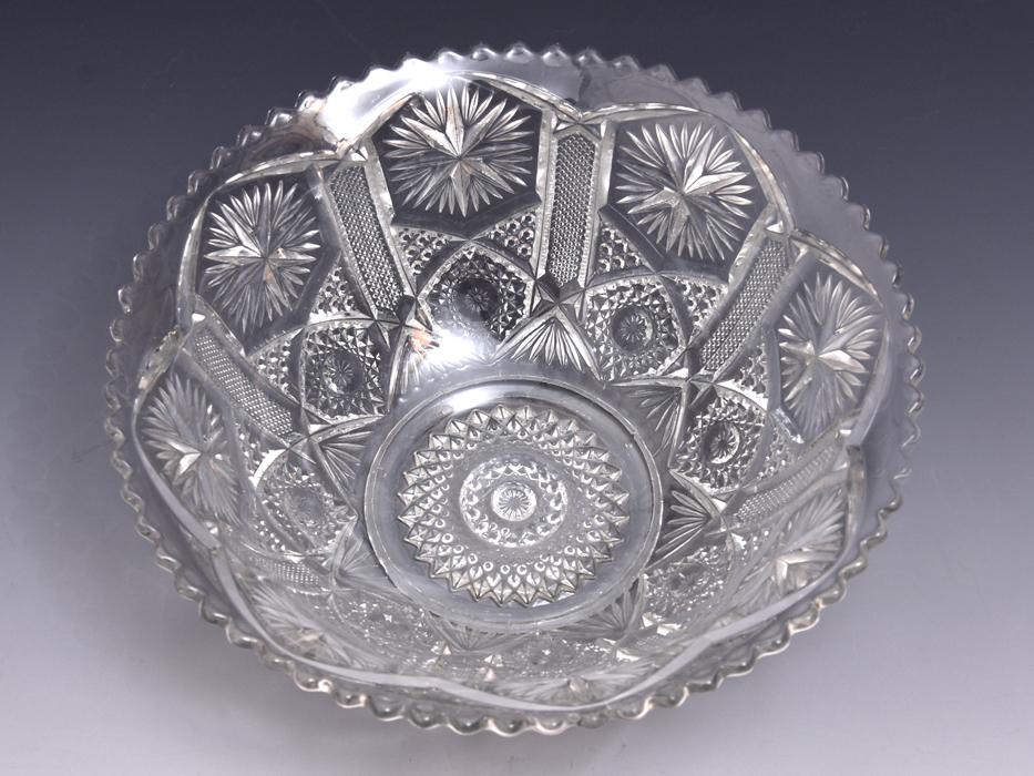 ボヘミア Bohemian Glass クリスタルガラス ボウル 深鉢 プレスガラス 硝子 ガラス工芸 西洋美術 現代工芸 b9010o_画像6