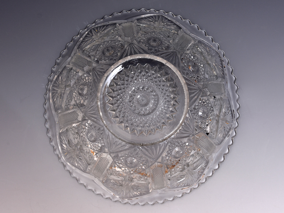 ボヘミア Bohemian Glass クリスタルガラス ボウル 深鉢 プレスガラス 硝子 ガラス工芸 西洋美術 現代工芸 b9010o_画像4