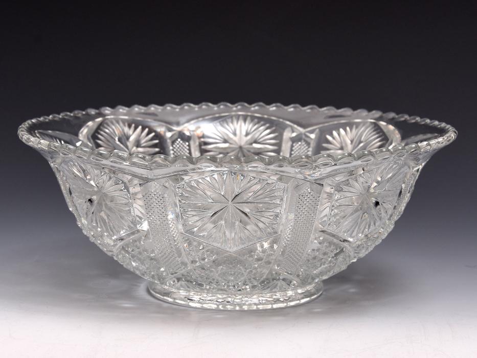 ボヘミア Bohemian Glass クリスタルガラス ボウル 深鉢 プレスガラス 硝子 ガラス工芸 西洋美術 現代工芸 b9010o_画像1