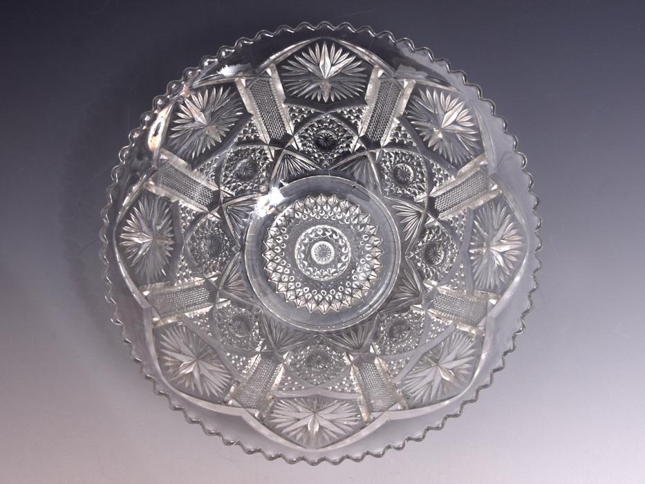 ボヘミア Bohemian Glass クリスタルガラス ボウル 深鉢 プレスガラス 硝子 ガラス工芸 西洋美術 現代工芸 b9010o_画像3