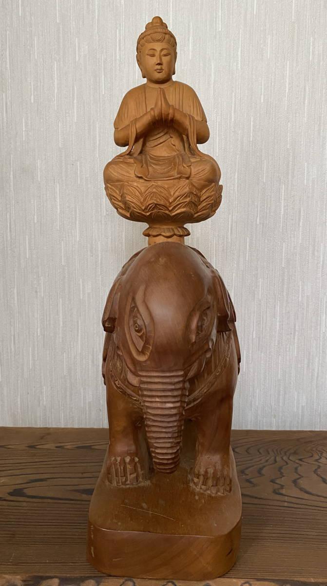 普賢菩薩像 仏像 象に乗った仏様 木彫り 彫刻 オブジェ 置物_画像5