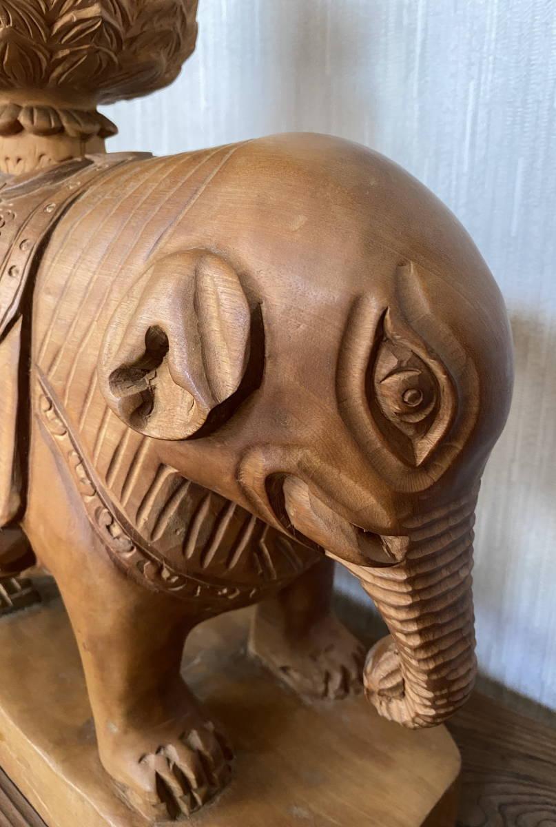 普賢菩薩像 仏像 象に乗った仏様 木彫り 彫刻 オブジェ 置物_画像4