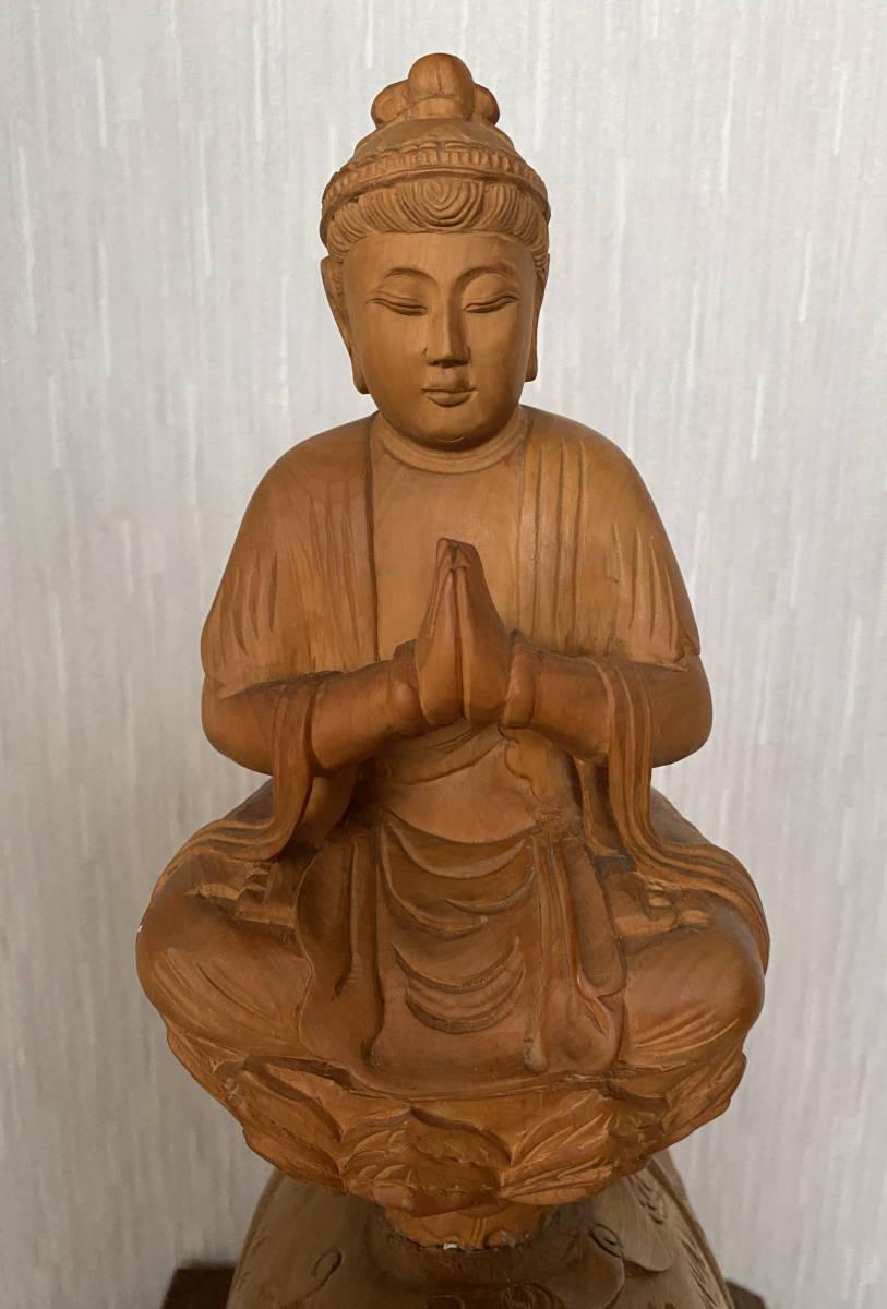 普賢菩薩像 仏像 象に乗った仏様 木彫り 彫刻 オブジェ 置物_画像2