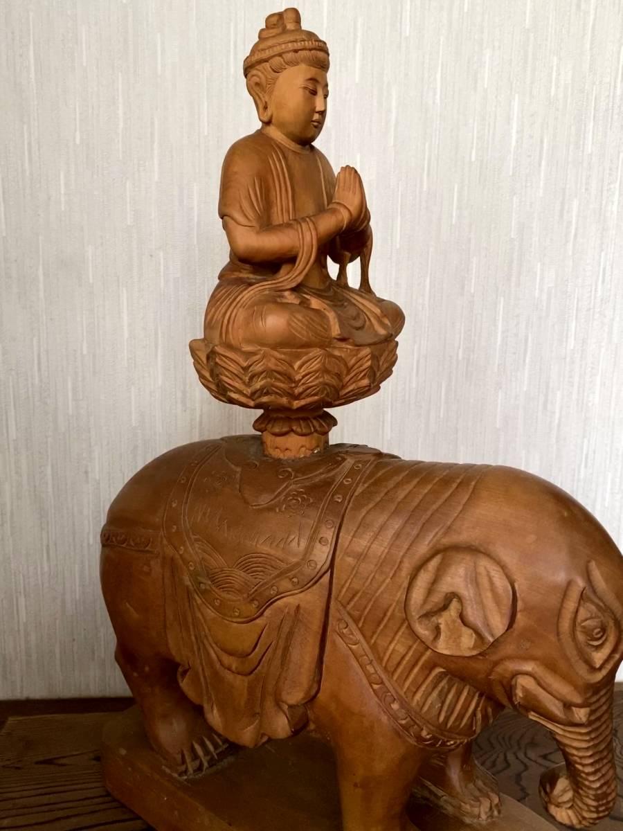 普賢菩薩像 仏像 象に乗った仏様 木彫り 彫刻 オブジェ 置物_画像3