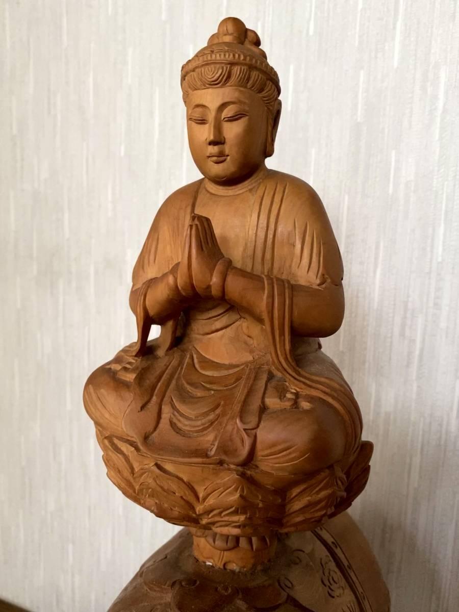 普賢菩薩像 仏像 象に乗った仏様 木彫り 彫刻 オブジェ 置物_画像1