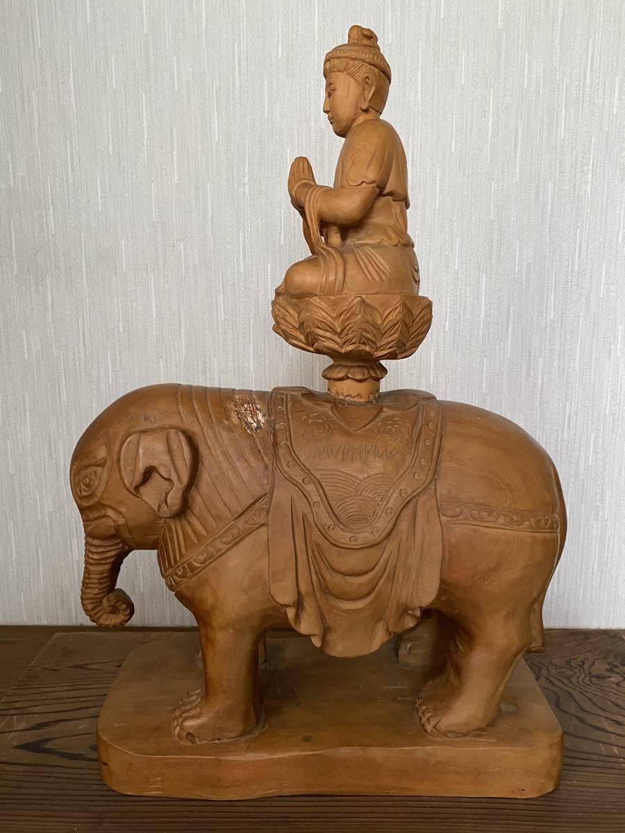 普賢菩薩像 仏像 象に乗った仏様 木彫り 彫刻 オブジェ 置物_画像7