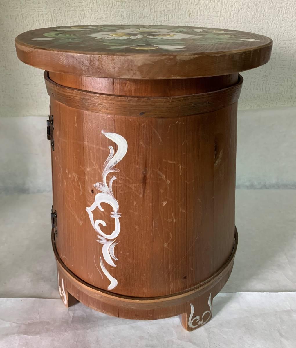 ◆イタリー製 木製 花が描かれた 花台 踏み台 腰掛 収納扉付◆_画像3