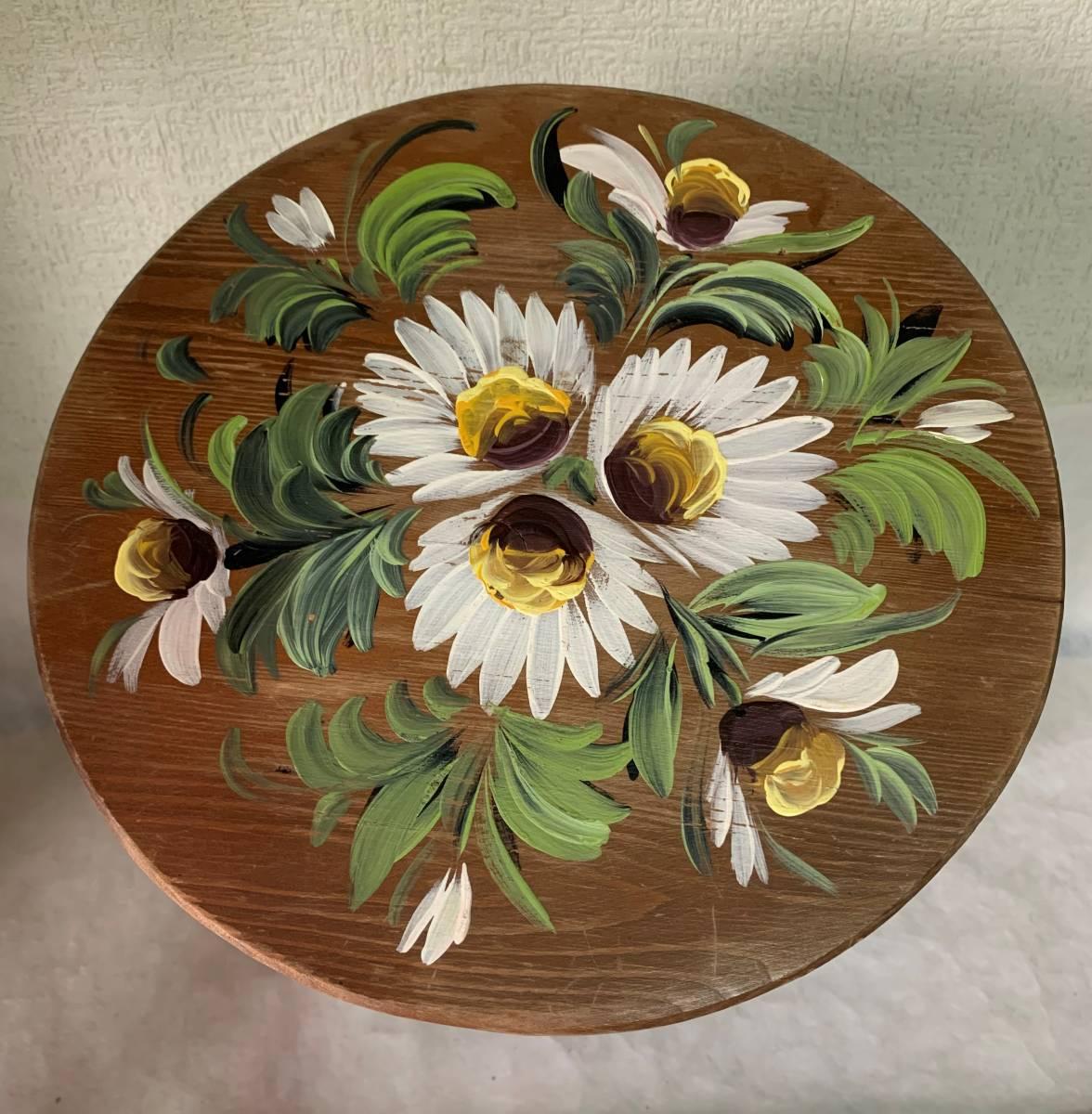 ◆イタリー製 木製 花が描かれた 花台 踏み台 腰掛 収納扉付◆_画像5