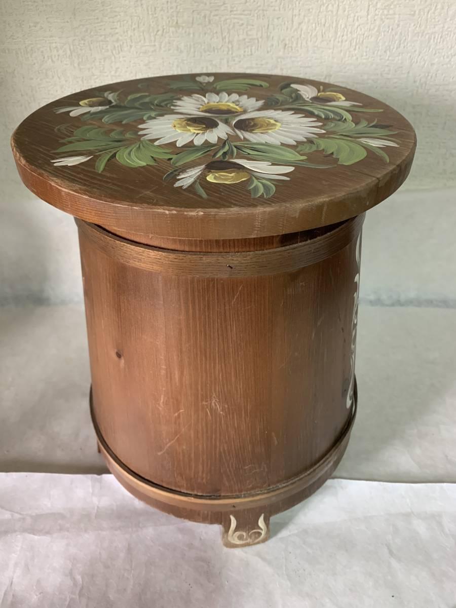 ◆イタリー製 木製 花が描かれた 花台 踏み台 腰掛 収納扉付◆_画像4