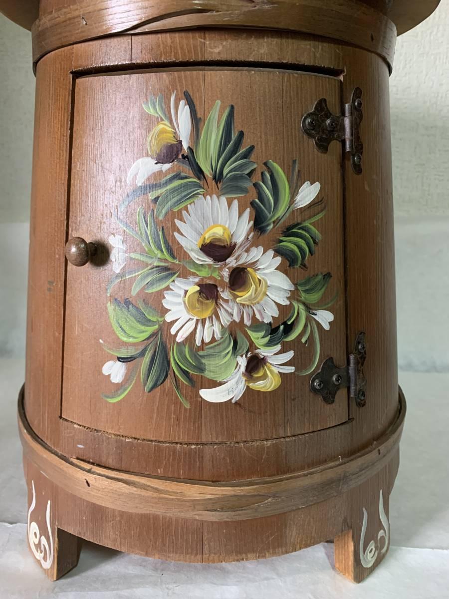 ◆イタリー製 木製 花が描かれた 花台 踏み台 腰掛 収納扉付◆_画像6