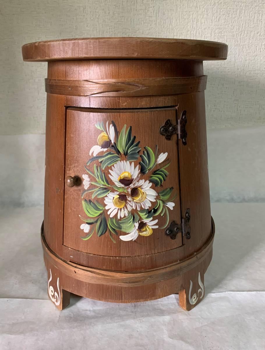 ◆イタリー製 木製 花が描かれた 花台 踏み台 腰掛 収納扉付◆_画像1