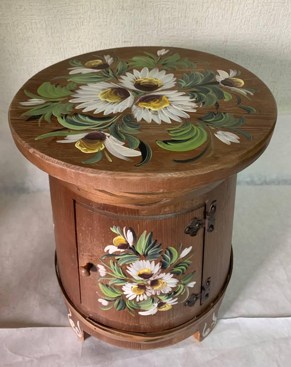 ◆イタリー製 木製 花が描かれた 花台 踏み台 腰掛 収納扉付◆_画像2