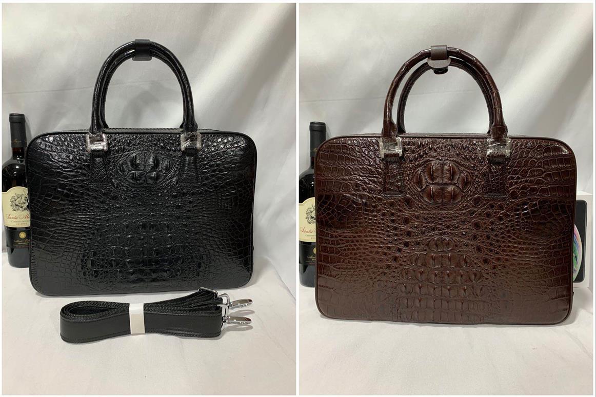 オススメ クロコダイルレザー ブリーフケース トートバッグ ビジネスバッグ 書類鞄 ハンドバッグ メンズバッグ ワニ革 本革 A4対応 2WAY_選択可能