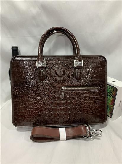 天然ワニ革 クロコダイルレザー ブリーフケース 書類鞄 トートバッグ ビジネスバッグ ハンドバッグ メンズバッグ 本革 2WAY A4対応 鞄_画像2