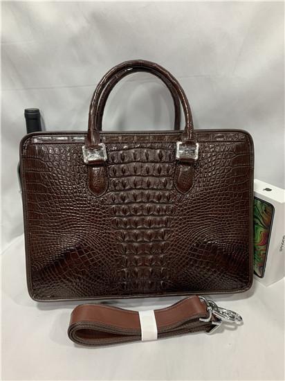 天然ワニ革 クロコダイルレザー ブリーフケース 書類鞄 トートバッグ ビジネスバッグ ハンドバッグ メンズバッグ 本革 2WAY A4対応 鞄_画像1