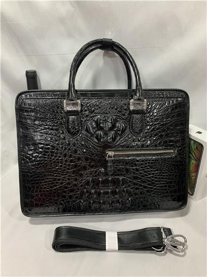 【激安】クロコダイルレザー ブリーフケース トートバッグ ビジネスバッグ 書類鞄 ハンドバッグ メンズバッグ ワニ革 本革 2WAY A4対応_画像2