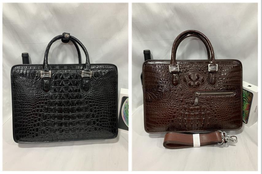 天然ワニ革 クロコダイルレザー ブリーフケース 書類鞄 トートバッグ ビジネスバッグ ハンドバッグ メンズバッグ 本革 2WAY A4対応 鞄_選択可能