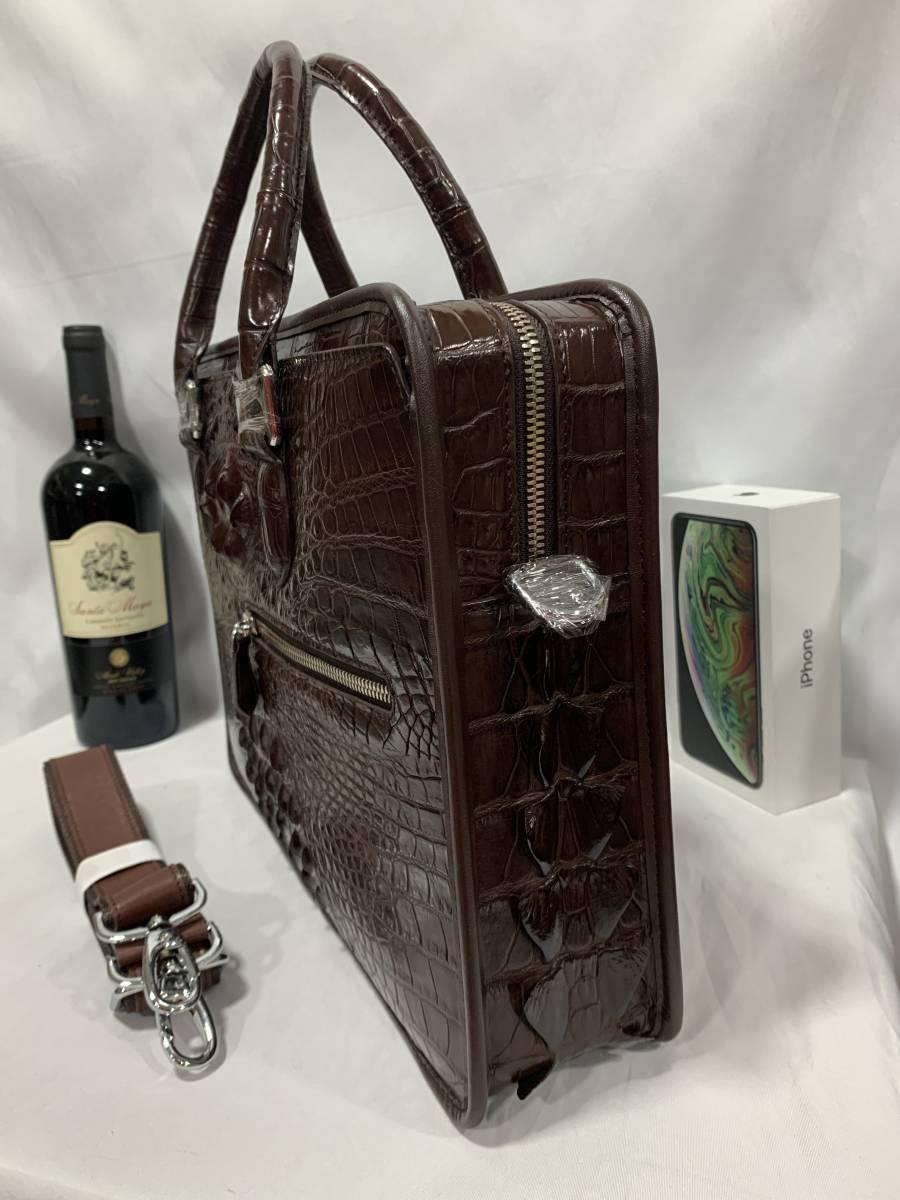 天然ワニ革 クロコダイルレザー ブリーフケース 書類鞄 トートバッグ ビジネスバッグ ハンドバッグ メンズバッグ 本革 2WAY A4対応 鞄_画像4