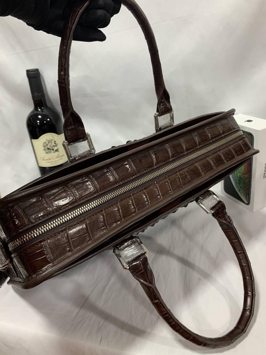 天然ワニ革 クロコダイルレザー ブリーフケース 書類鞄 トートバッグ ビジネスバッグ ハンドバッグ メンズバッグ 本革 2WAY A4対応 鞄_画像3