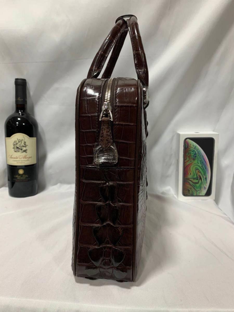 オススメ クロコダイルレザー ブリーフケース トートバッグ ビジネスバッグ 書類鞄 ハンドバッグ メンズバッグ ワニ革 本革 A4対応 2WAY_画像3