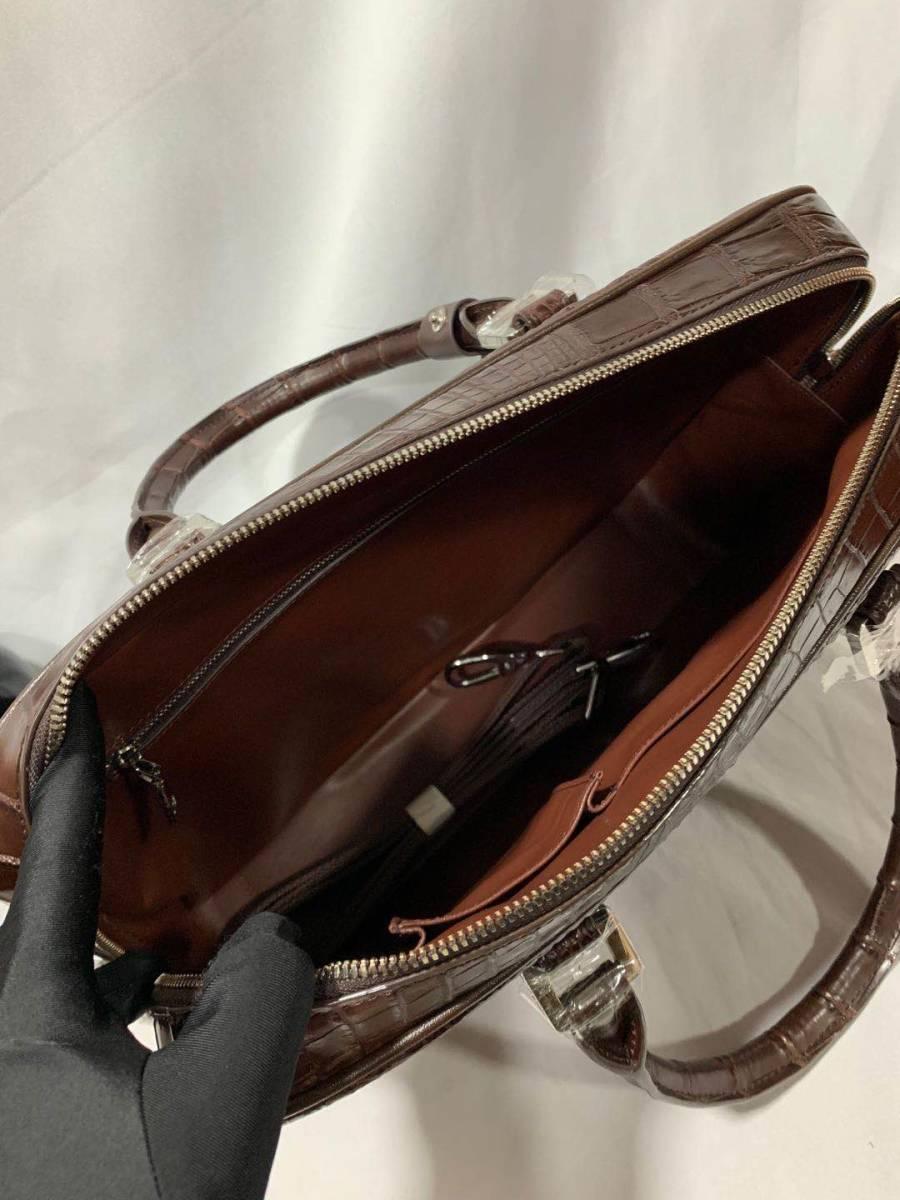 オススメ クロコダイルレザー ブリーフケース トートバッグ ビジネスバッグ 書類鞄 ハンドバッグ メンズバッグ ワニ革 本革 A4対応 2WAY_画像6
