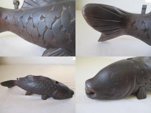 ◆TA3184◆時代木彫鯉/利朝、波鱗竜?/自在鉤部材/鯉◆_画像4