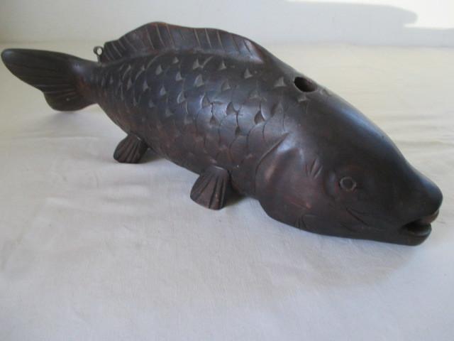 ◆TA3184◆時代木彫鯉/利朝、波鱗竜?/自在鉤部材/鯉◆_画像10