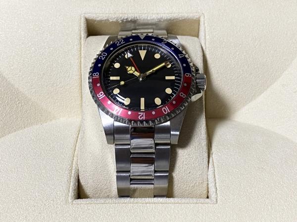 ビンテージ GMT デザイン 機械式 腕時計 自動巻き 3針 ノンデイト [検 アンティーク サブマリーナ クラシック GMTマスター2 オマージュ]