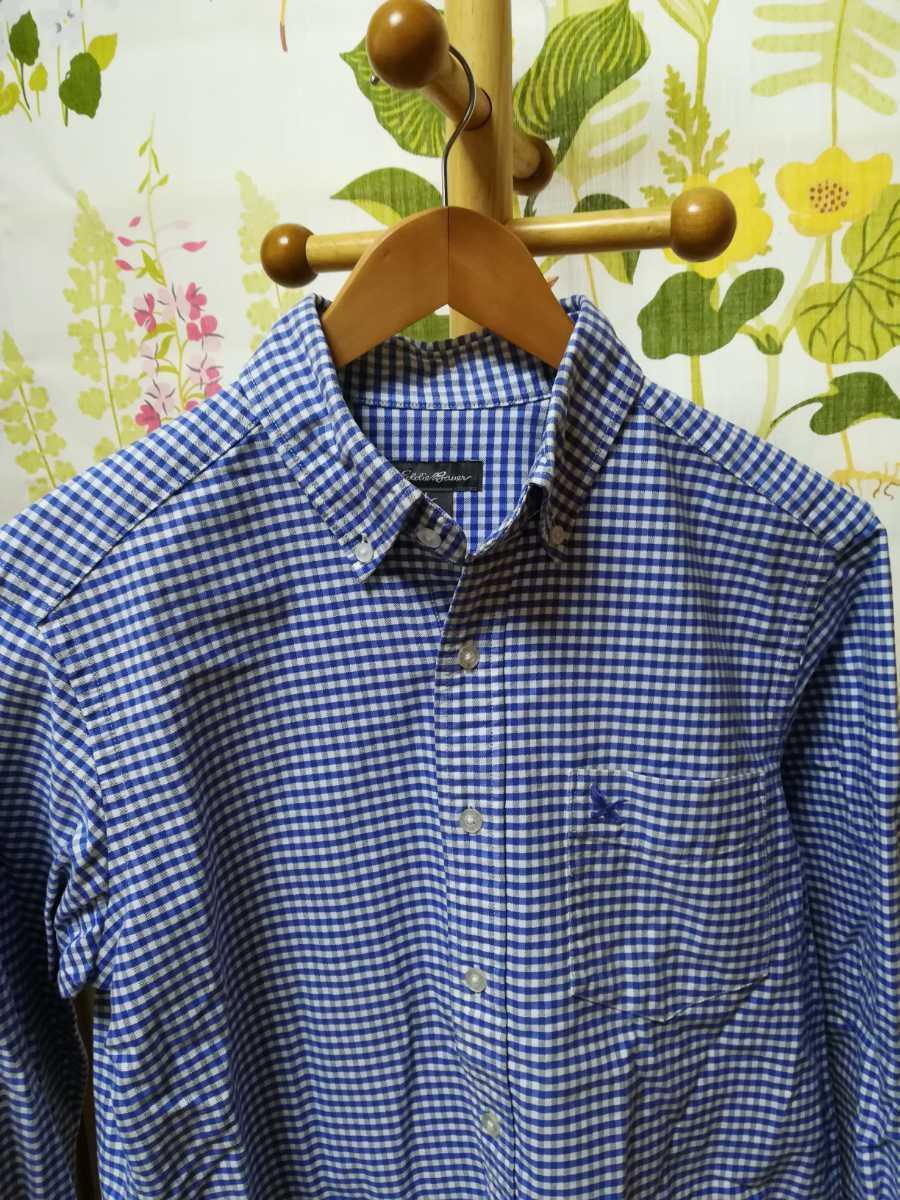 Eddie Bauer エディー・バウアー 青色チェック柄の長袖シャツS