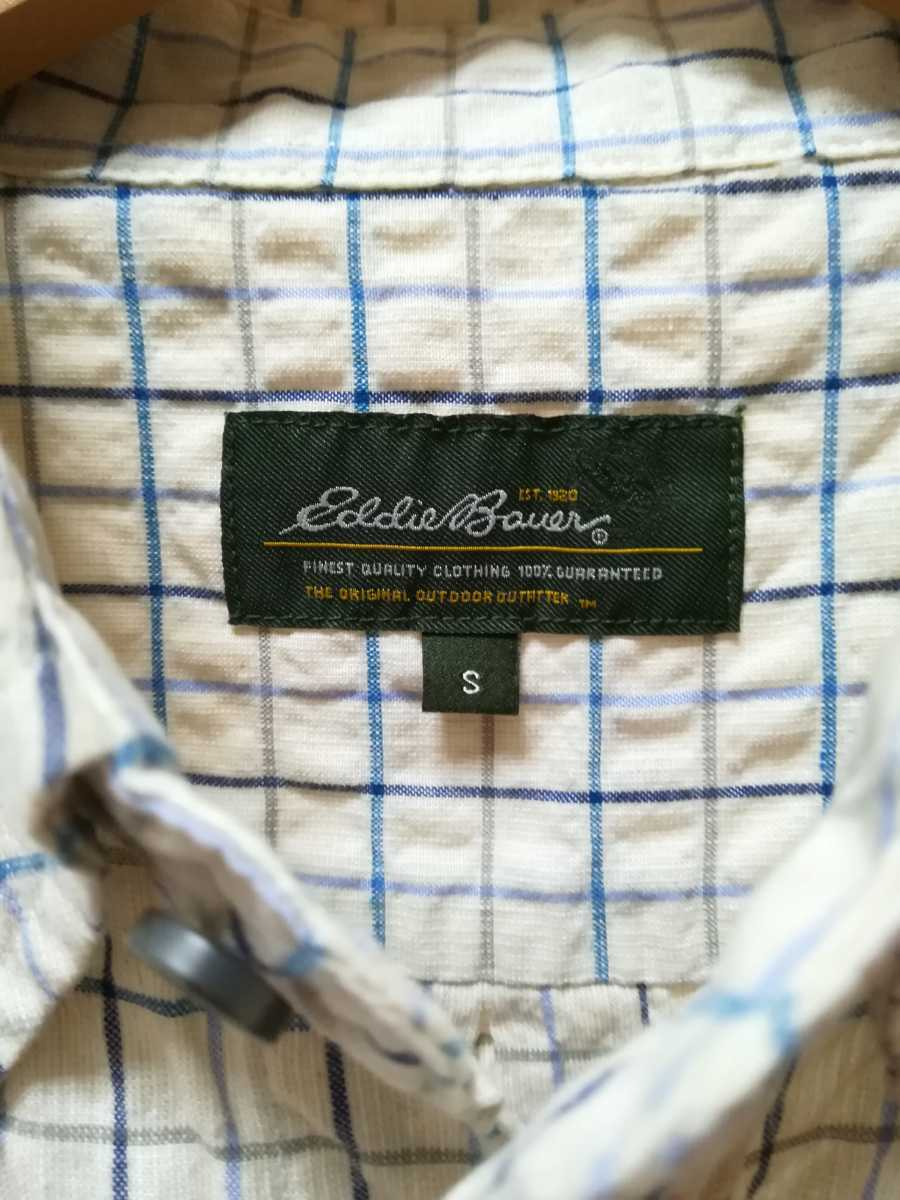 Eddie Bauer エディー・バウアー 青系チェック柄の長袖シャツS