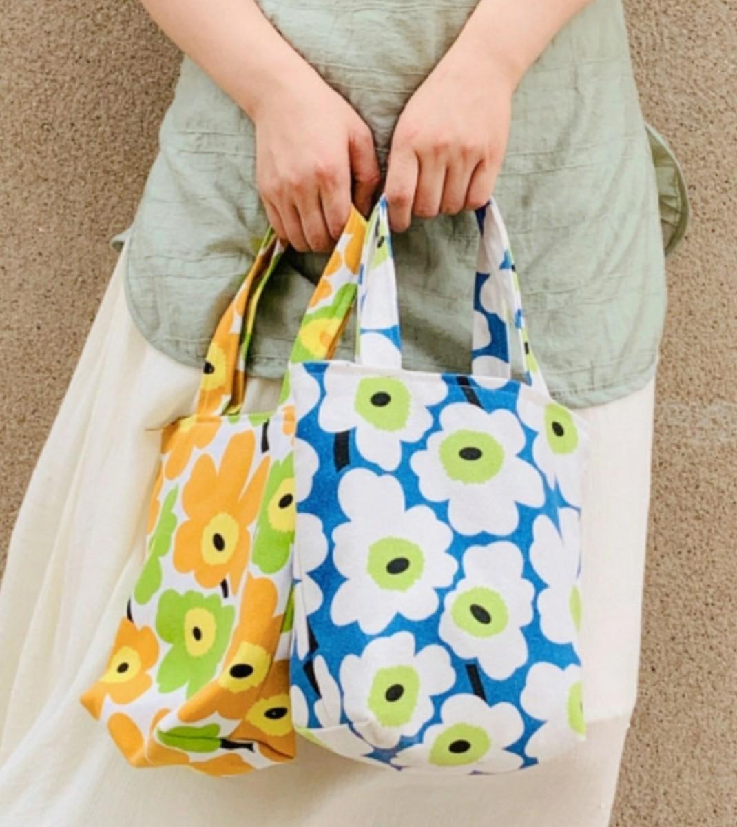 ミニ トートバッグ オレンジ マリメッコ 花柄 北欧 ランチ サブ 新品未使用