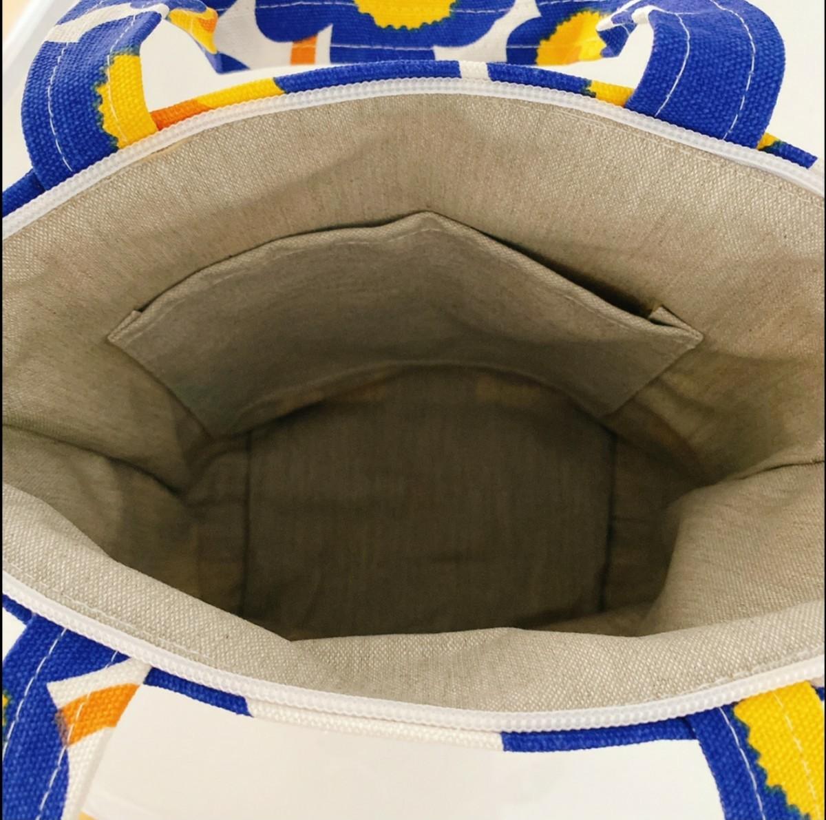 ミニ トートバッグ 花柄 ブルー ウニッコ サブ サイド カラフル 新品未使用