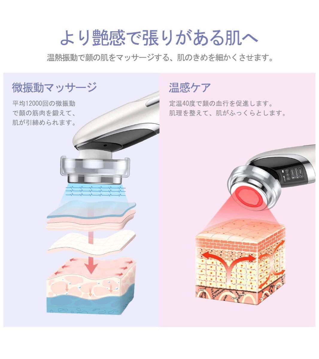 美顔器 イオン導入導出 EMS微電流 LED光エステ 温熱/目元ケアしわ たるみ