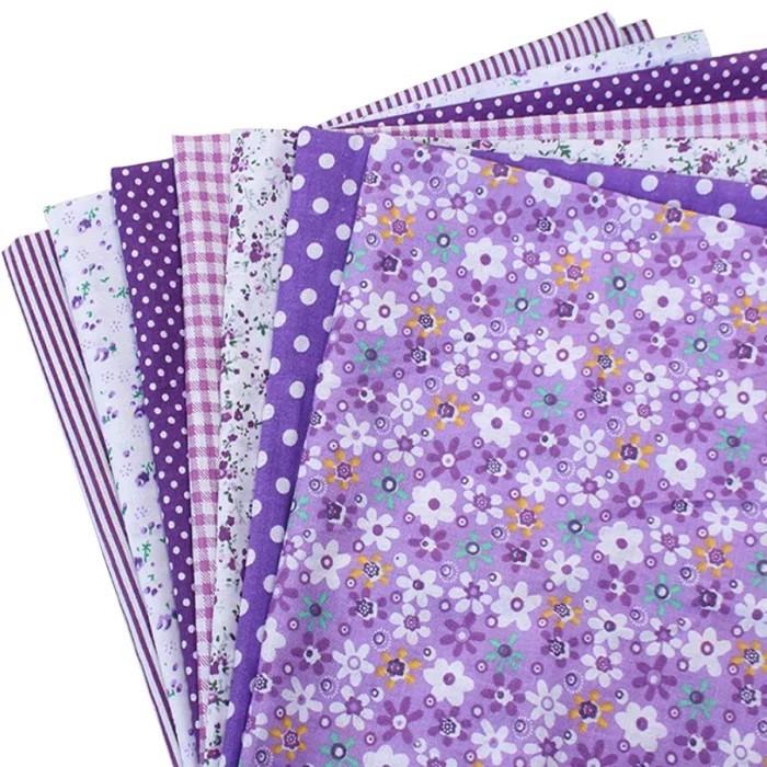 はぎれセット 紫系 小花柄 ドット チェック ストライプ カットクロス  ハギレ
