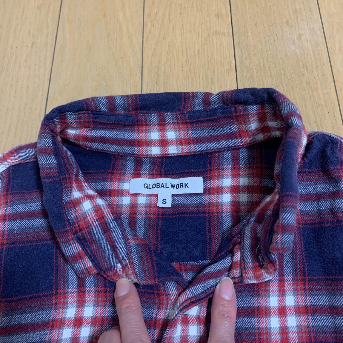 グローバルワーク  長袖シャツ チェックシャツ 長袖 ネルシャツ