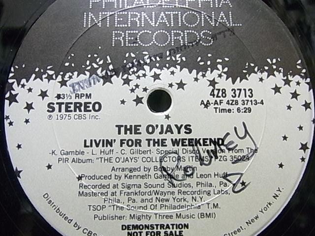 ★オリジナルUS Promo盤★The O'Jays / I Love Music / Livin' For The Weekend '12_画像3