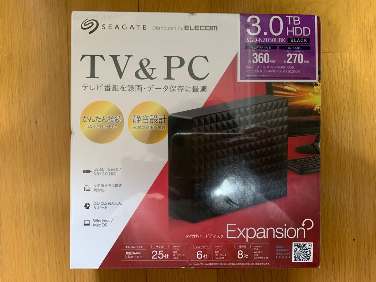 新品 エレコム ELECOM 外付けハードディスク3TB SGDNZ030UBK