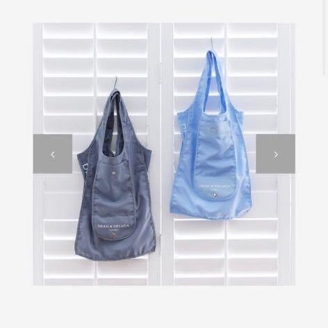 ハワイ限定 DEAN&DELUCA エコバッグ 2個セット ショッピングバッグ トートバッグ 無地 ライトグレー ライトブルー メンズ レディース