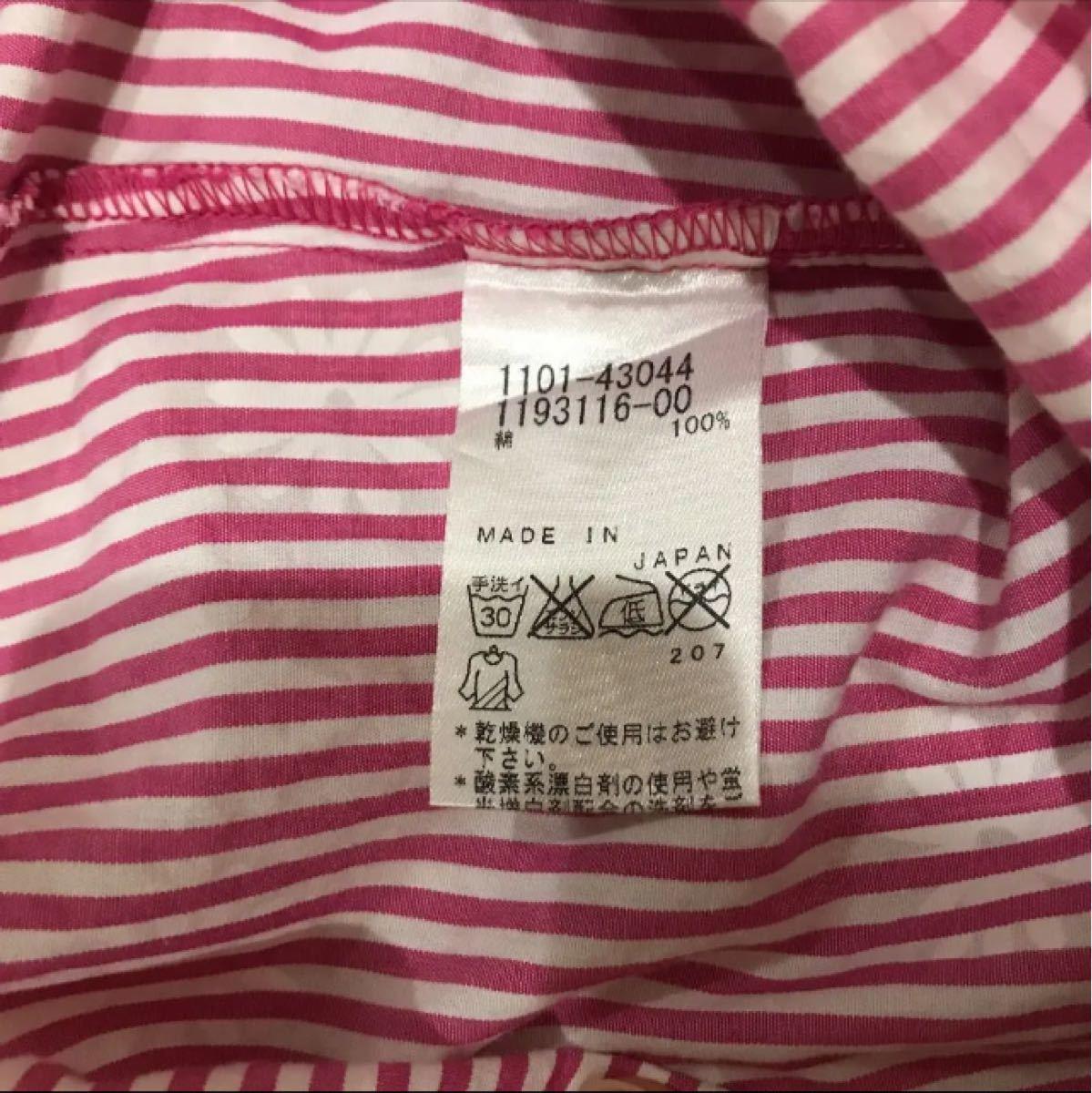 BEBE ピンク花柄ストライプシャツワンピース 100 半袖ワンピース