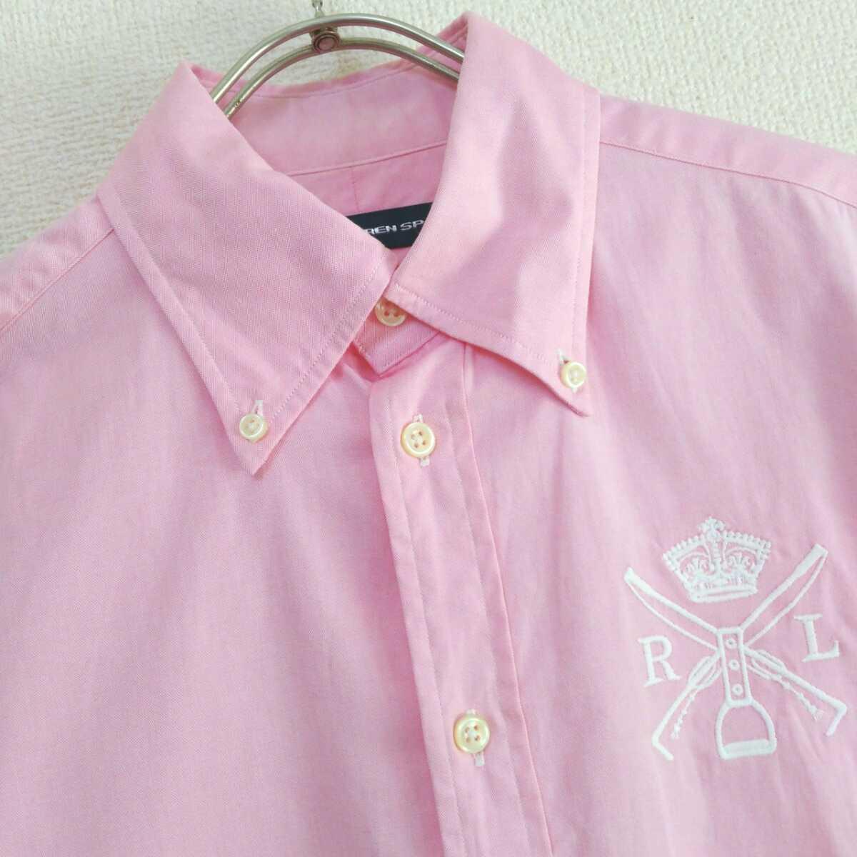 ラルフローレンスポーツ RALPH LAUREN SPORT レディース 8 ピンク 刺繍ロゴ 長袖シャツ 古着女子 フルジョ カジュアル ラルフシャツ●I31
