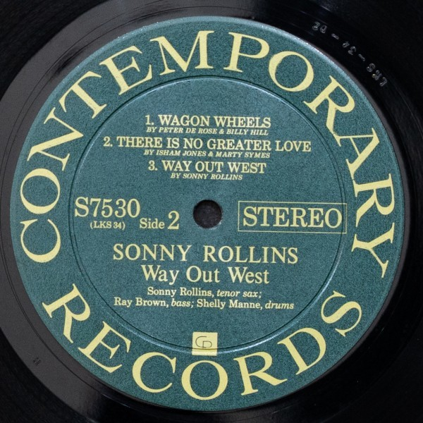 SONNY ROLLINS 希少 両溝 WAY OUT WEST ソニーロリンズ CONTEMPORARY 名盤 RAY BROWN / SHELLY MANNE_画像5