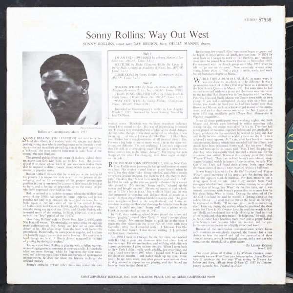 SONNY ROLLINS 希少 両溝 WAY OUT WEST ソニーロリンズ CONTEMPORARY 名盤 RAY BROWN / SHELLY MANNE_画像2