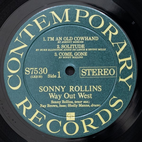 SONNY ROLLINS 希少 両溝 WAY OUT WEST ソニーロリンズ CONTEMPORARY 名盤 RAY BROWN / SHELLY MANNE_画像4