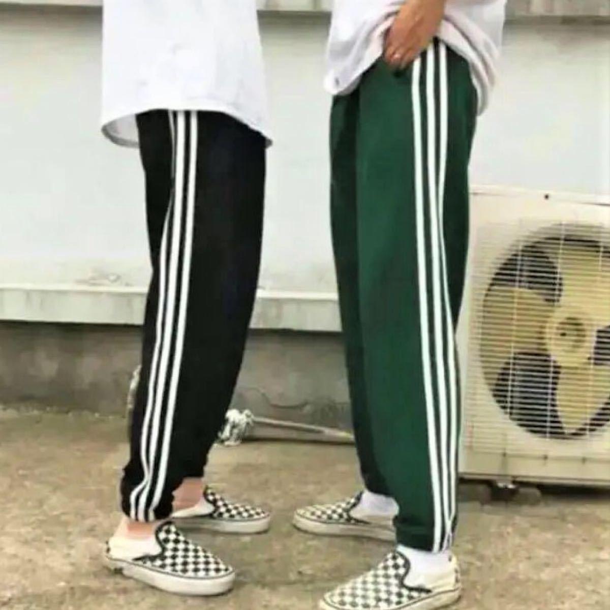 格安 ラインパンツ 黒 ズボン カジュアル ゴム スポーツ ジャージ 男女兼用