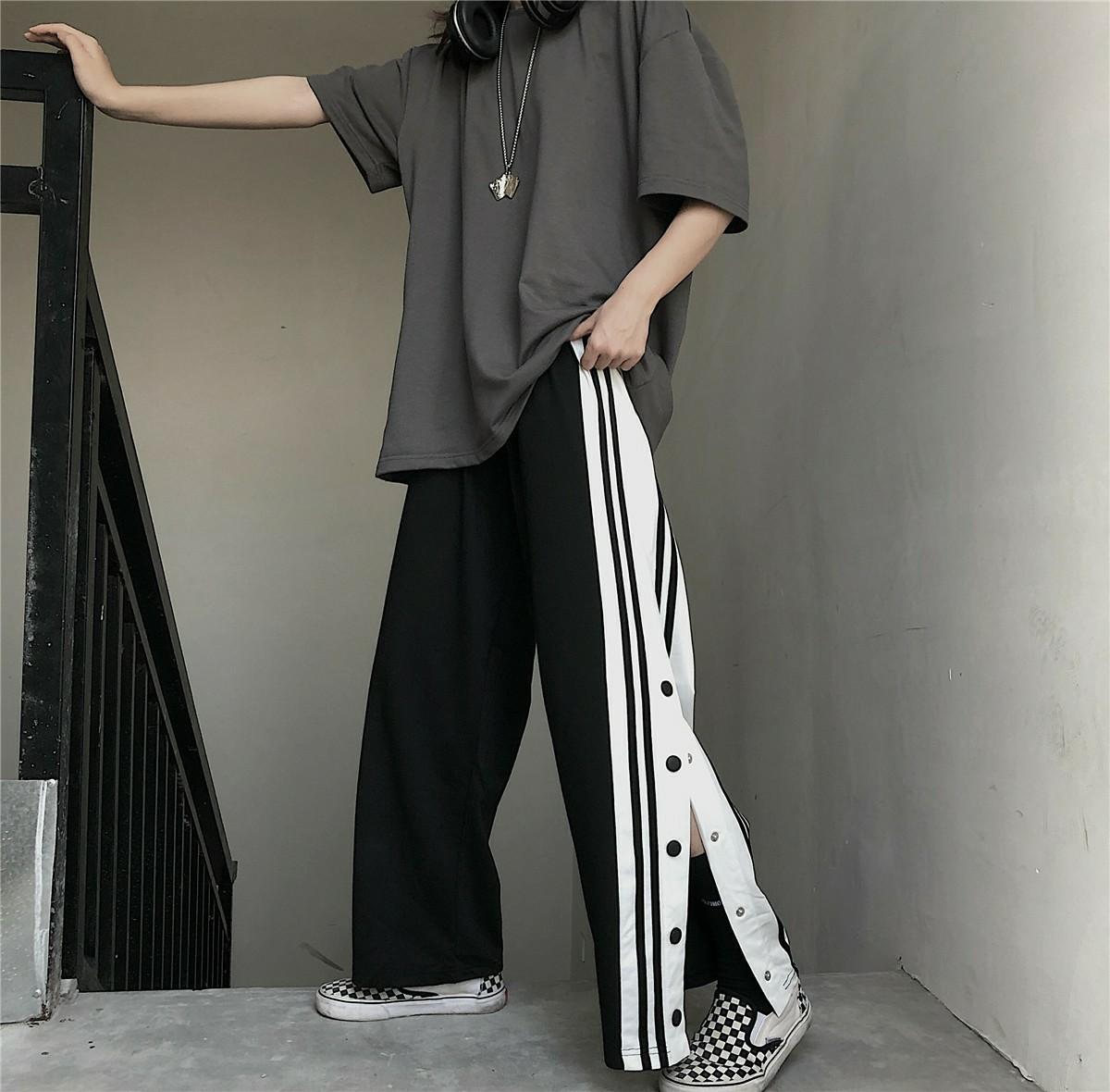 メンズ   ストリート系 サイドライン ワイドパンツ