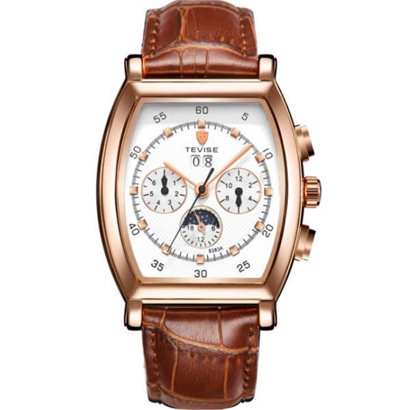 ☆送料無料☆ メンズ高級腕時計 41mm 機械式 自動巻 カレンダー 曜日表示 サン&ムーン 本革ベルト 紳士 ビジネス ファション R/W_画像1