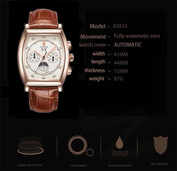 ☆送料無料☆ メンズ高級腕時計 41mm 機械式 自動巻 カレンダー 曜日表示 サン&ムーン 本革ベルト 紳士 ビジネス ファション R/W_画像2