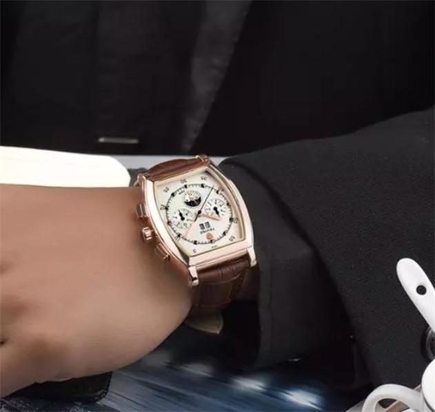 ☆送料無料☆ メンズ高級腕時計 41mm 機械式 自動巻 カレンダー 曜日表示 サン&ムーン 本革ベルト 紳士 ビジネス ファション R/W_画像6
