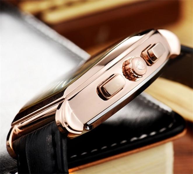 ☆送料無料☆ メンズ高級腕時計 41mm 機械式 自動巻 カレンダー 曜日表示 サン&ムーン 本革ベルト 紳士 ビジネス ファション R/W_画像4